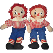 "Two 15"" Knickerbocker musical Raggedy Andy Dolls Free P&I US Buyers"