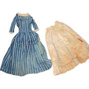 Wonderful Antique Navy Patterned Dress & slip for Your Small Bisque or China Doll Free P&I US Buyers