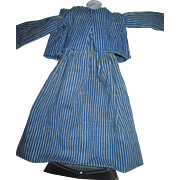Awesome 2 piece 1800's striped Jacket & Skirt for  cabinet size China or Bisque Dolls Free P&I US buyers