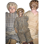 3 Old Tin Head Metal Doll Free P&I US Buyers