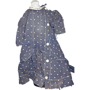 Detailed Navy Dotted Dress for China or Bisque Dolls Free P&I US Buyers