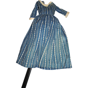 Indigo Blue Patterned Cotton Dress for Smaller China or Bisque dolls Free P&I US Buyers