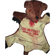 Adorable 1963 Phi Kappa Tau Ohio U Teddy Bear PJ BAG Free P&I US Buyers