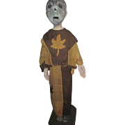 "38"" Papier Mache & Wood Folk Art Halloween or Ritural Figure Free P&I US Buyers"