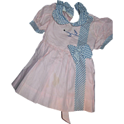 Adorable Pink Cotton dress  w/blue check accents for Patty Play Pal or larger dolls Free P&I US Buyers