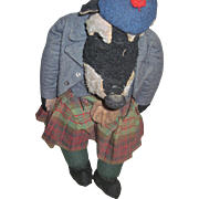 "Wow! L@@K at this 20"" Wolf in a Scottish outfit Possible Steiff or Merrythought Free P&I US Buyers"