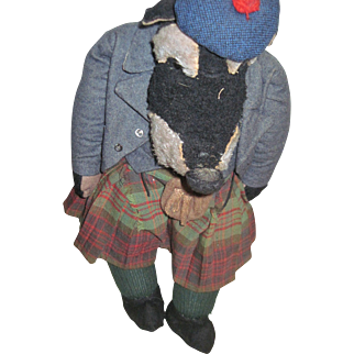 """Wow! L@@K at this 20"""" Wolf in a Scottish outfit Possible Steiff or Merrythought Free P&I US Buyers"""