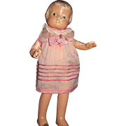 "9"" Patsyette Effanbee Composition Doll Great for restoration or parts Free P&I US Buyers"