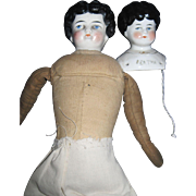 2 China dolls Bertha head & low brow doll Free P&I US Buyers