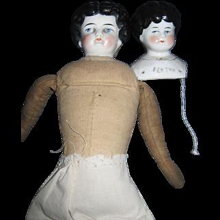 2 China dolls Bertha head & low brow doll Free P&I US Buyers