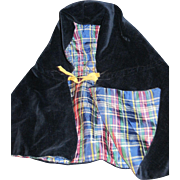 Lovely Velvet & Plaid cape for China or Bisque Dolls Free PI US BUYERS