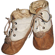 Adorable Linen & Leather Pom Pom Lace UP Shoes for Bisque Dolls Free P&I US Buyers