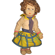 """Adorable 12"""" 1916 French Raynal Lenci type cloth doll Free P&I US Buyers"""