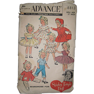 "Advance Shirley Temple doll pattern for 17"" doll Free P&I US Buyers"
