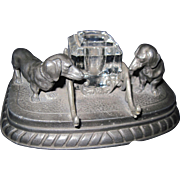 Awesome Vintage Dachsund Pewter Two  dog INKWELL Free P&I US Buyers