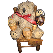 "4"" Adorable Teddy Bear for the Bear or Basket collector Free P&I US Buyers"