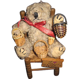 """4"""" Adorable Teddy Bear for the Bear or Basket collector Free P&I US Buyers"""