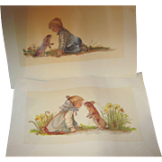 2 Adorable Tasha Tudor Prints unsigned Free P&I US Buyers