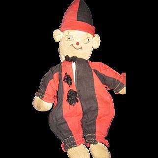 "Folk Art 13"" Cloth Clown Doll  Free P&I US Buyers"
