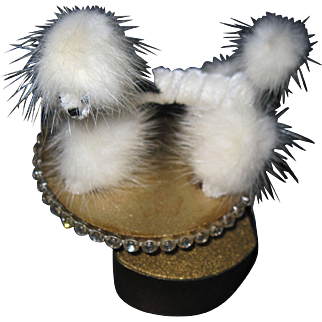 Miniature White furry  dog Music Box prop for bisque doll free P&I US Buyers