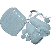 Lovely Bonnet & Knit Booties For Dydee doll & Friends Free P&I US Buyers