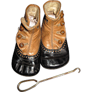 Wonderful High Button Doll or Baby Shoes with hook Free P&I US Buyers