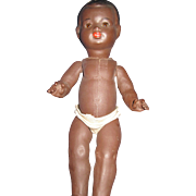 "12"" Vintage Black Baby Doll with glass SE Free P&I US Buyers"