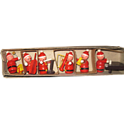 Wonderful 6 piece Miniature Wooden Santa Band  Free P&I US Buyers!