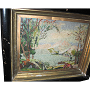 Beautiful Old Artist Yarn framed Picture Free P&I US Buyers