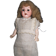 "German 7"" bisque doll glass eyes Free P&I US Buyers"