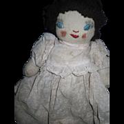 "9"" All original Handmade old Rag doll.  Free P&I US Buyers!"