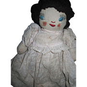 "9"" All original Handmade old Rag doll.  Free P&I US Buyers!"