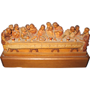 Beautiful Anri Wood Miniature Last Supper Free P&I US Buyer!