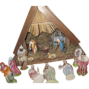 Beautiful German Nativity Scene many pieces Fee P&I US Buyers
