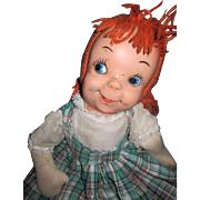 "19"" Adorable Redhead cloth & vinyl Rag doll  Free P&I US Buyers !"