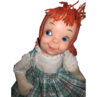 "19"" Adorable Redhead cloth & vinyl Rag doll  Free P&I US Buyers !"