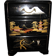 Miniature Asian Laquerware Doll Chest Free P&I US Buyers