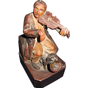 Charming  early Anri wood carved violinist beggar with Dog Free P&I US Buyers