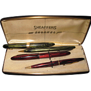 2 Sets Sheaffer Pen & pencil Sets 1 snorkel 14k tip Free P&I US Buyers