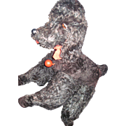 "Awesome 12"" Black Mohair YES/NO Poodle Dog  Free P&I US Buyers"