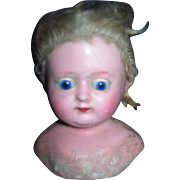 Wax Papie Mache Glass SE eyes Doll Head Free P&I US Buyers
