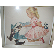 Wonderful Framed Chessie Kitten Picture Free P&I US Buyers!