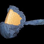 Wonderful Indigo Blue & straw Sun Bonnet for Bisque & china dolls Free P&I US Buyers