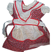 Sweet Red Print Doll Dress w/organdy appron Free P&I US Buyers