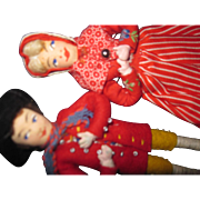 "Wonderful pair 5"" Denmark cloth Dolls w/tag Free P&I US Buyers"