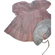 Adorable Pink & White Check Dress & Bonnet for larger Dydee and Baby Friends Free P&I US Buyers