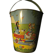 Wonderful Vintage Tin Chein Sand pail & shovel Free P&I US Buyers