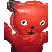 "Adorable 11"" Vintage Stuffed Red Cat Free P&I US Buyers"