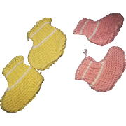 "2"" Vintage knit booties for Tiny Tears Doll & Friends free P&I US Buyers"