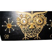 Collins of Texas Night Owl Wood Box Purse Fee P&I US Buyers